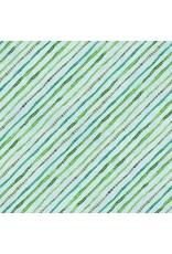 Wilmington Floral Flight - Ticking Stripe Light Blue