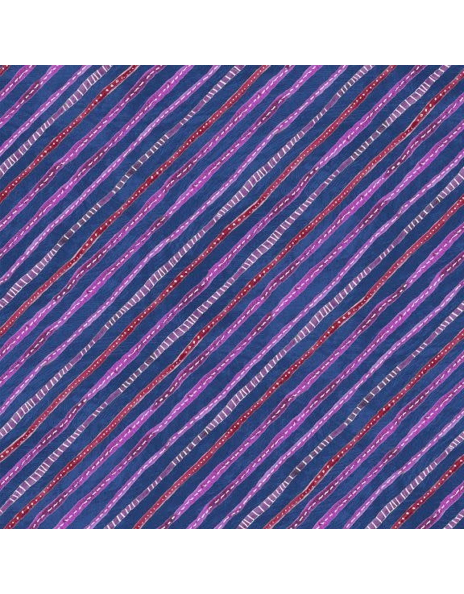 Wilmington Floral Flight - Ticking Stripe Dark Blue