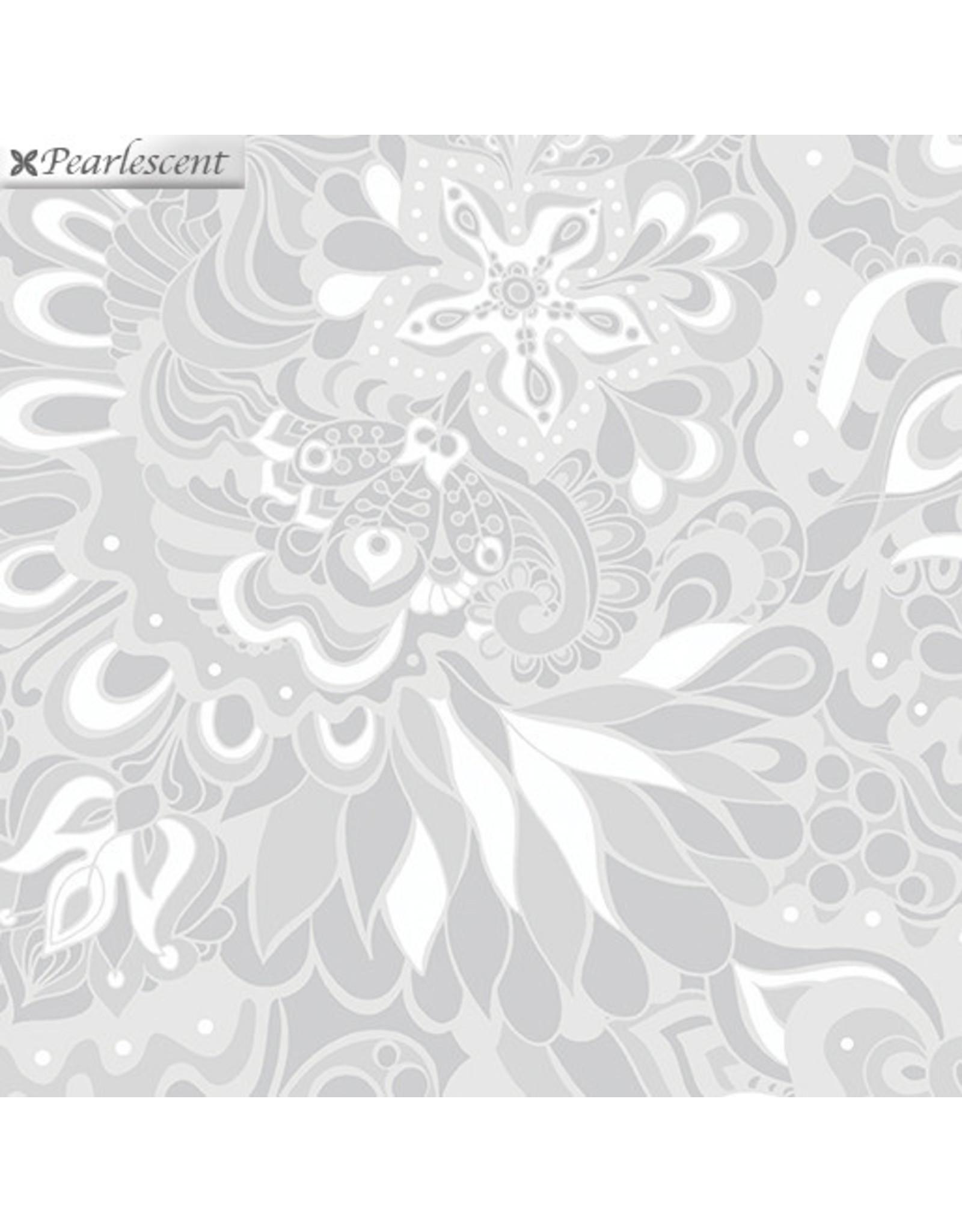 Contempo Jubilee Silver - Floral Light Gray
