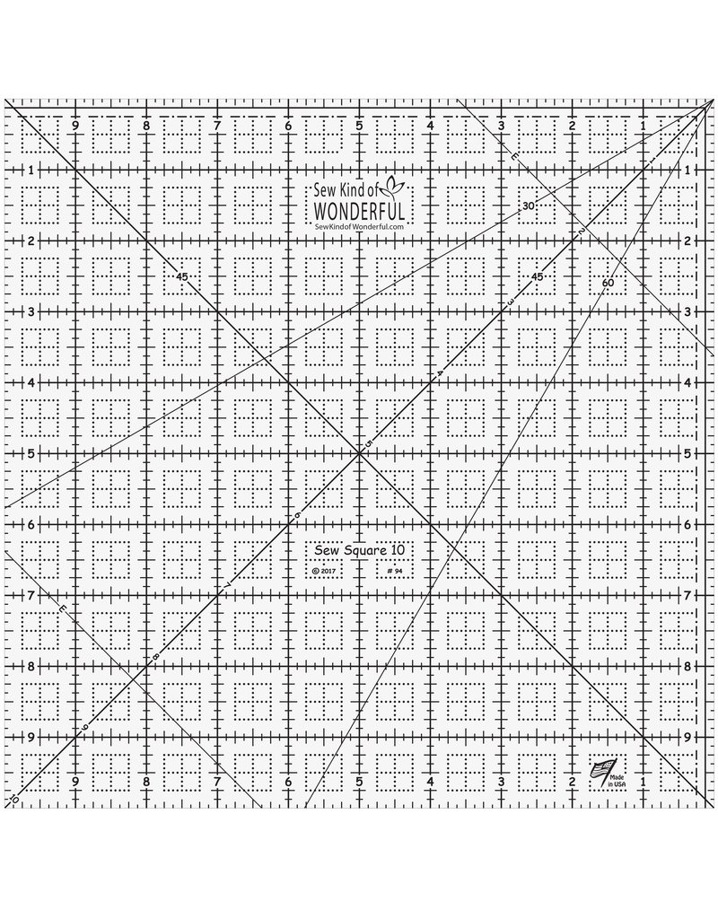 Sew Kind of Wonderful Sew Square Ruler - 10 inch