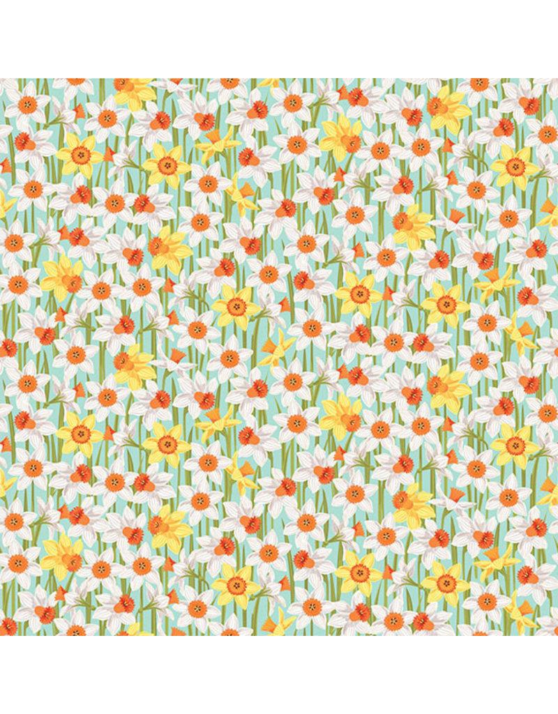 Makower UK Spring - Daffodils Turquoise