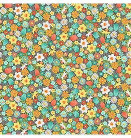 Makower UK Spring - Flowers Turquoise