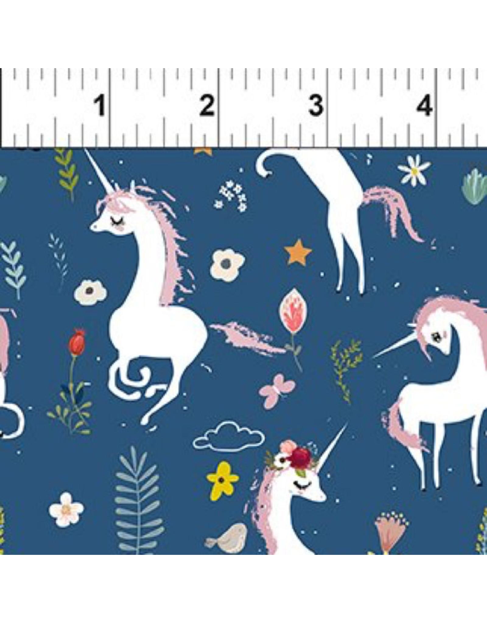 In the Beginning Mermaids and Unicorns - Unicorns Blue White
