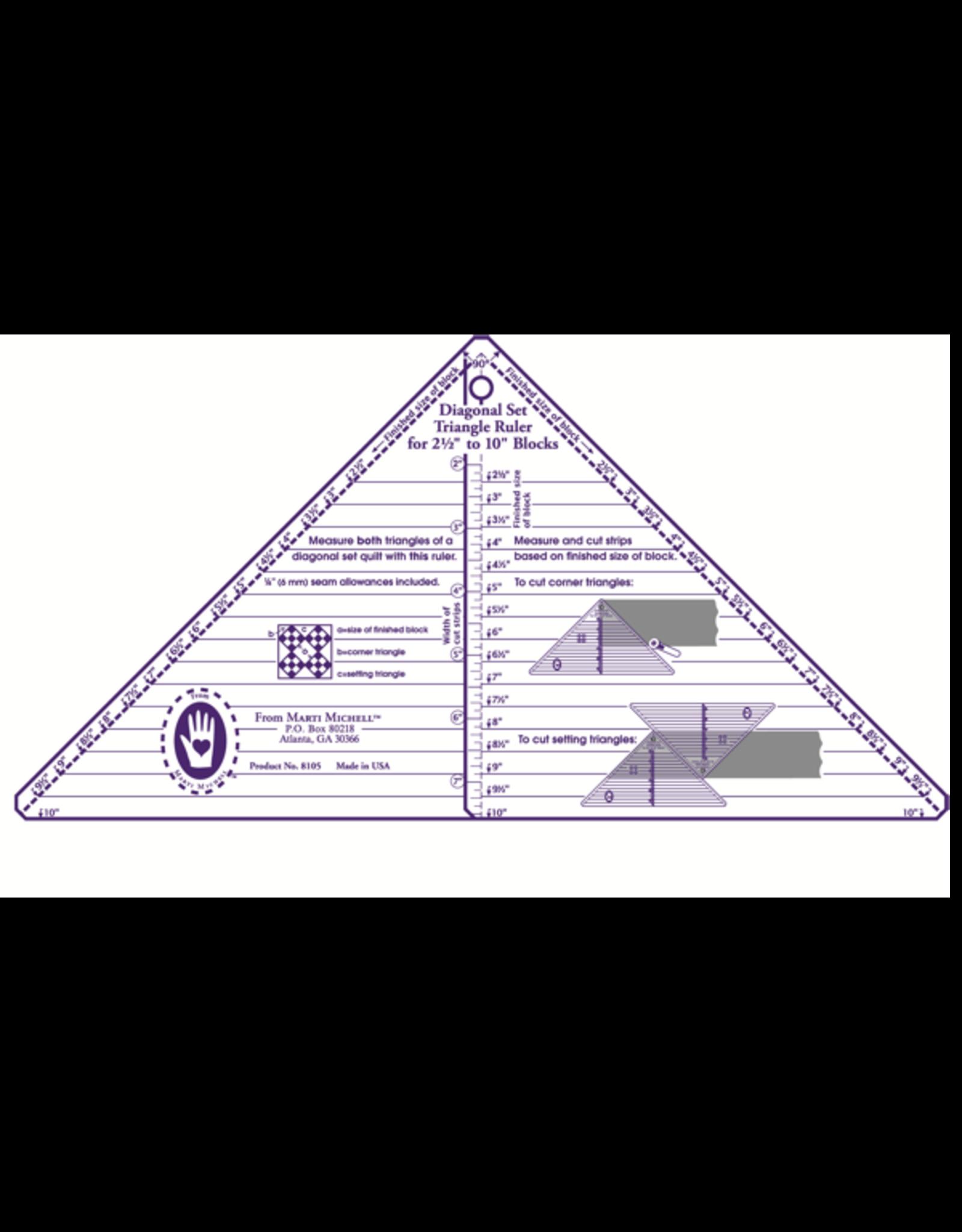 Diagonal Set Full Triangle Ruler - 2,5-10 inch blocks
