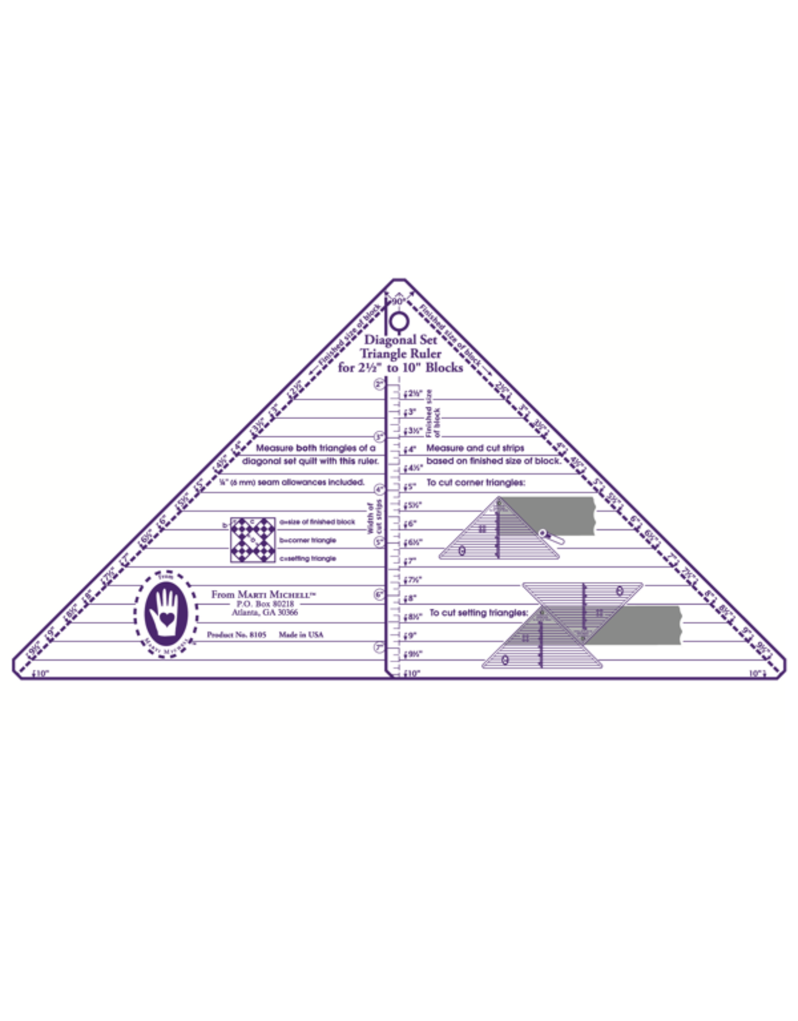 Marti Michell Diagonal Set Full Triangle Ruler - 2,5-10 inch blocks