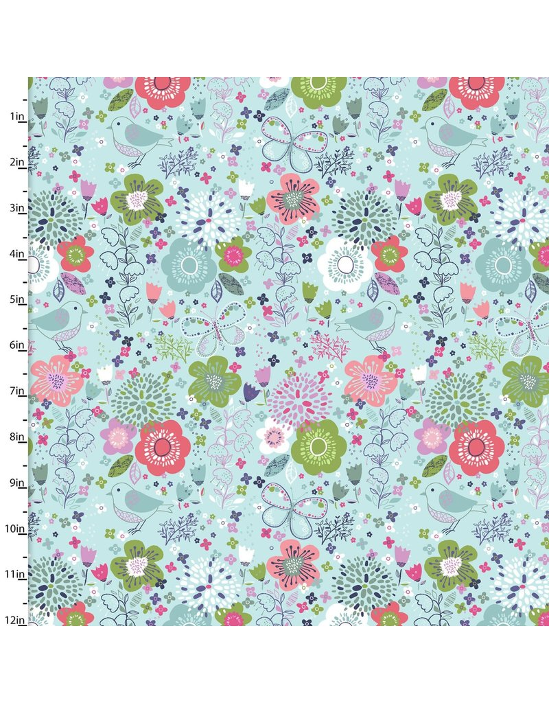 3 Wishes Fabric Hello Spring - Garden Turquoise