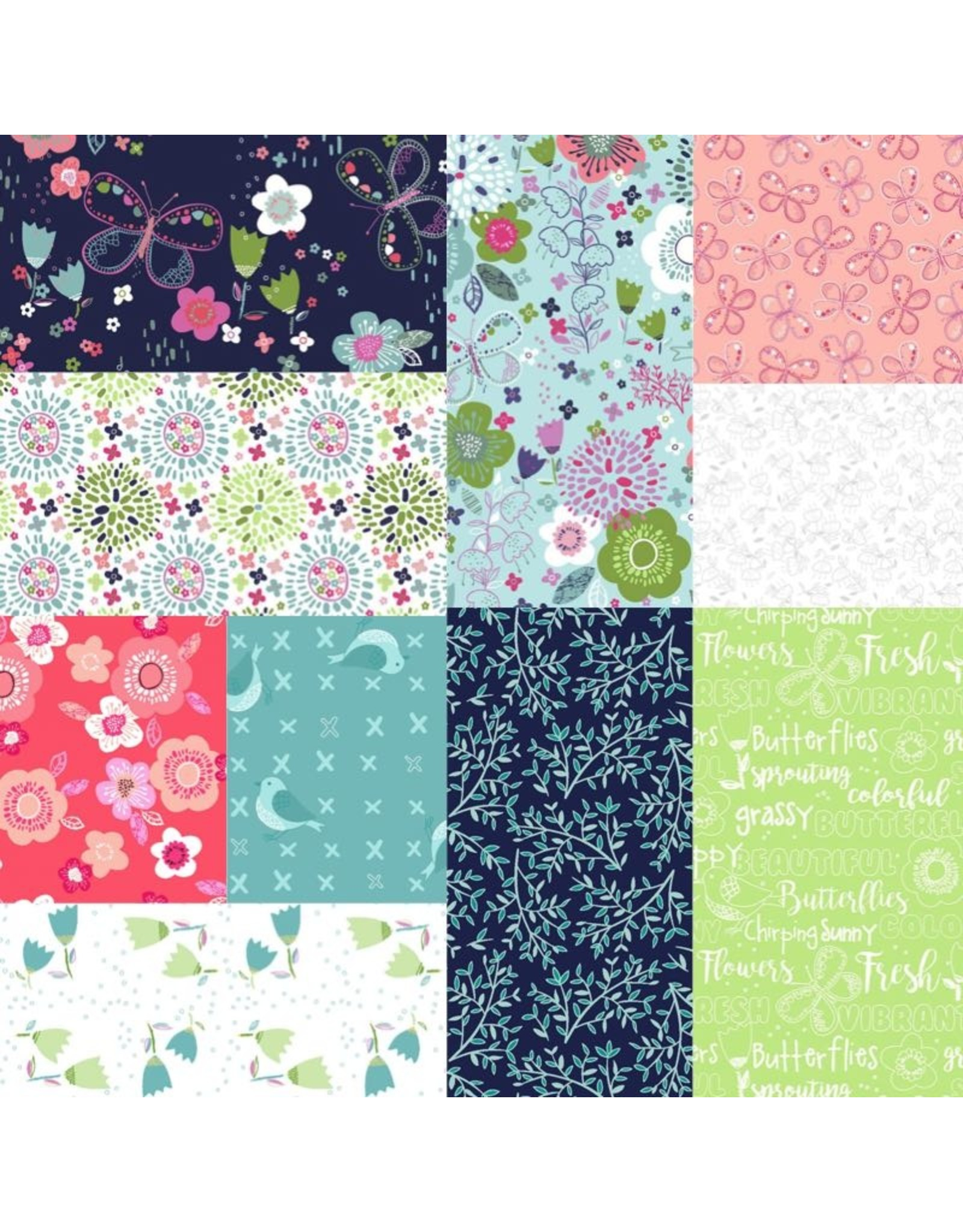 3 Wishes Fabric Hello Spring - Fat Eight Pakket