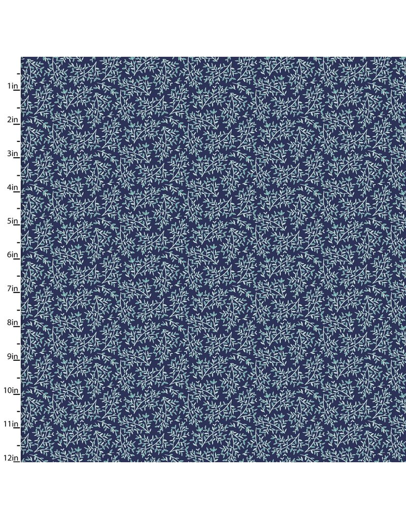 3 Wishes Fabric Hello Spring - Leaf Navy