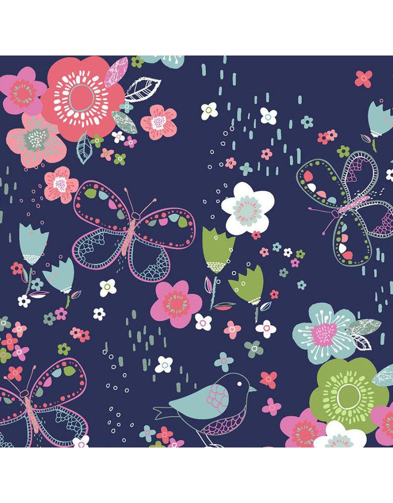 3 Wishes Fabric Hello Spring - Garden Navy