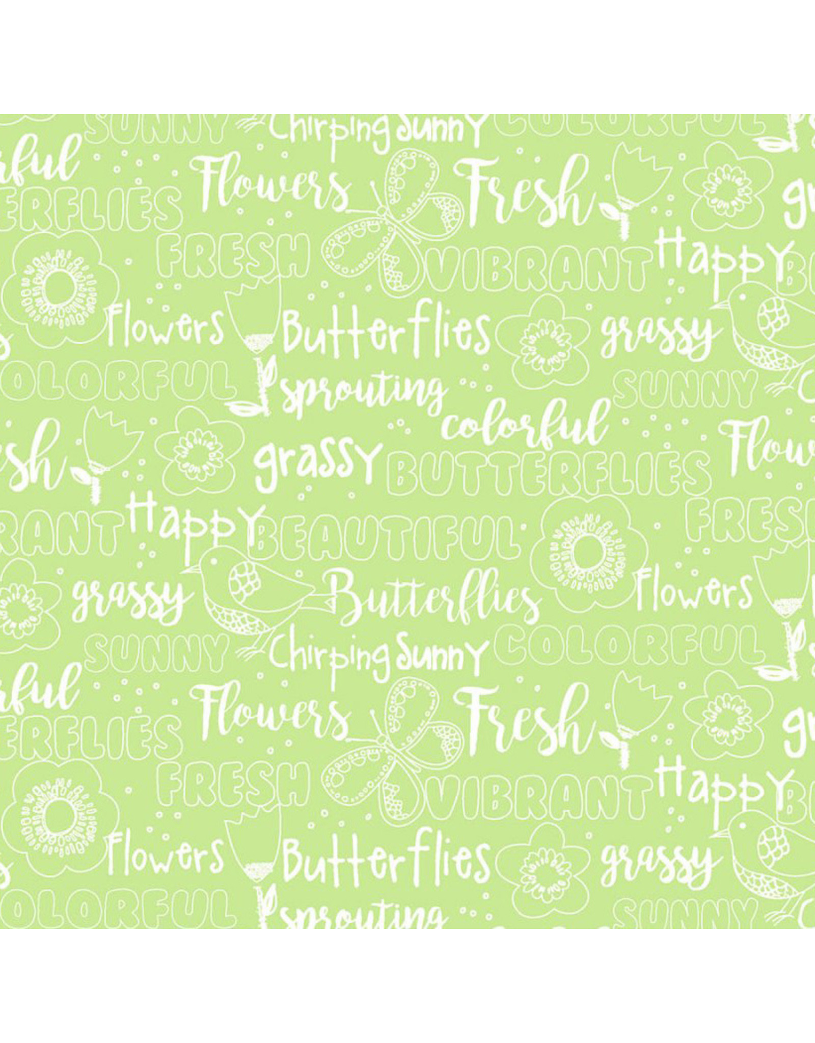 3 Wishes Fabric Hello Spring - Words Green