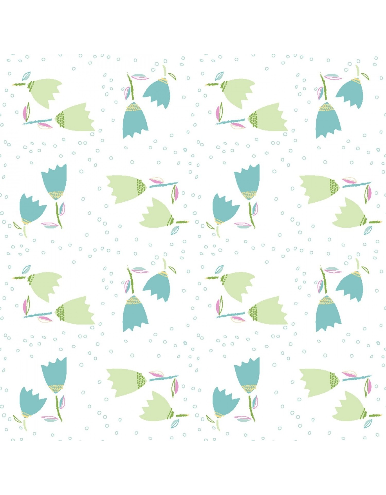 3 Wishes Fabric Hello Spring - Tulip Toss White