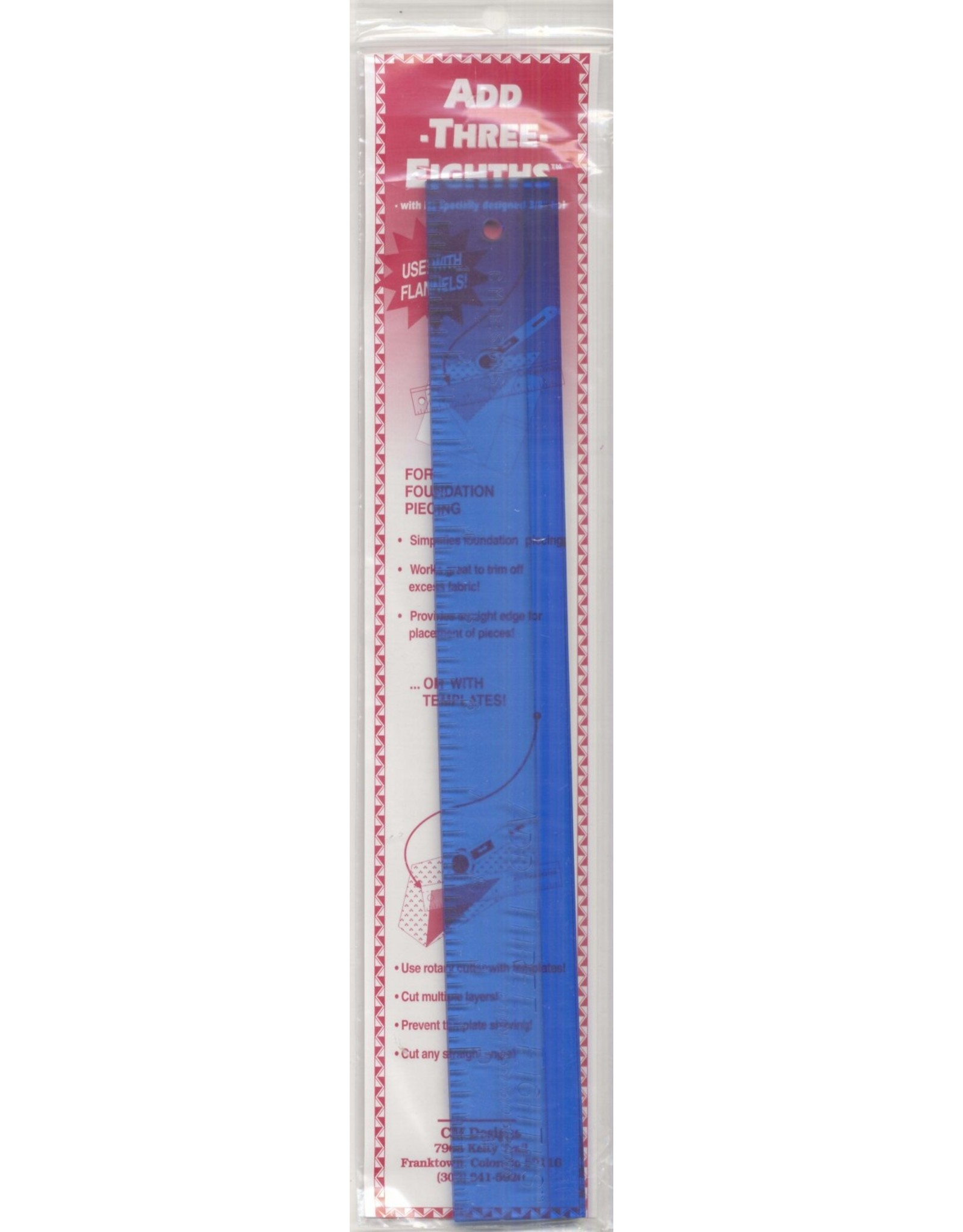 CM Designs Add Three Eight Ruler - 12 inch