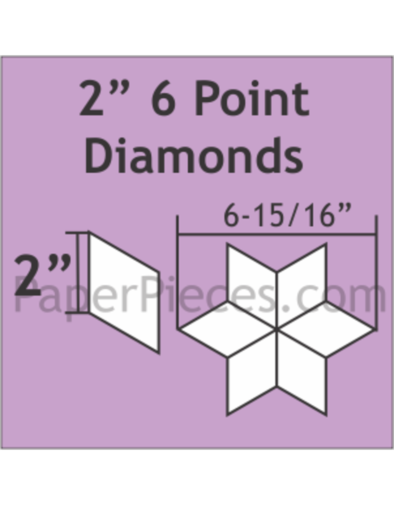 Paper Pieces 2 inch 6-point Diamond  - 75 stuks