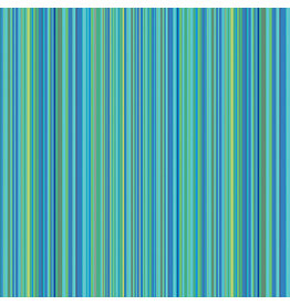 Contempo Warp & Weft -Multi Stripe Aqua - fat quarter