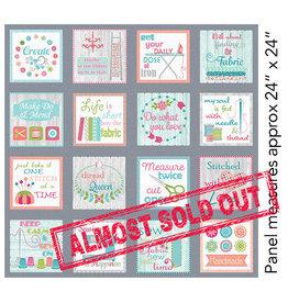 Contempo My Happy Place - Panel Sew Wordy Multi - (± 60 x 110 cm)