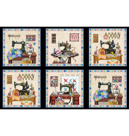 Elizabeth's Studio A Stitch in Time - Panel Black