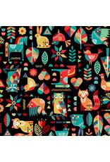 Makower UK Folk Friends - Animals Black