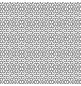 Contempo Words to Quilt By - Geo Flower Grey/White