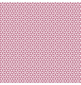 Contempo Words to Quilt By - Geo Flower Pink/White
