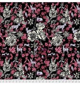 FreeSpirit Woodland Walk - Fawn in Flowers Black