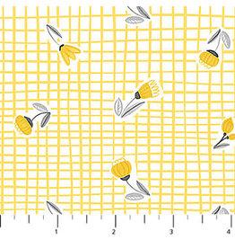 Northcott Sew Sweet - Yellow Buds on Yellow Plaid coupon (± 40 x 110 cm)