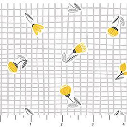 Northcott Sew Sweet - Yellow Buds on Gray Plaid coupon (± 32 x 110 cm)