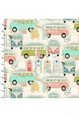 3 Wishes Fabric Beach Travel - Vintage Bus