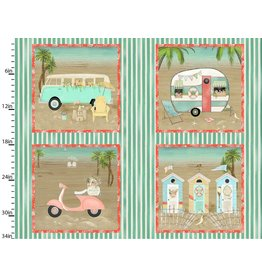 3 Wishes Fabric Beach Travel - Panel - 1 yard