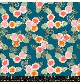Ruby Star Society Purl - Embroidered Floral Teal
