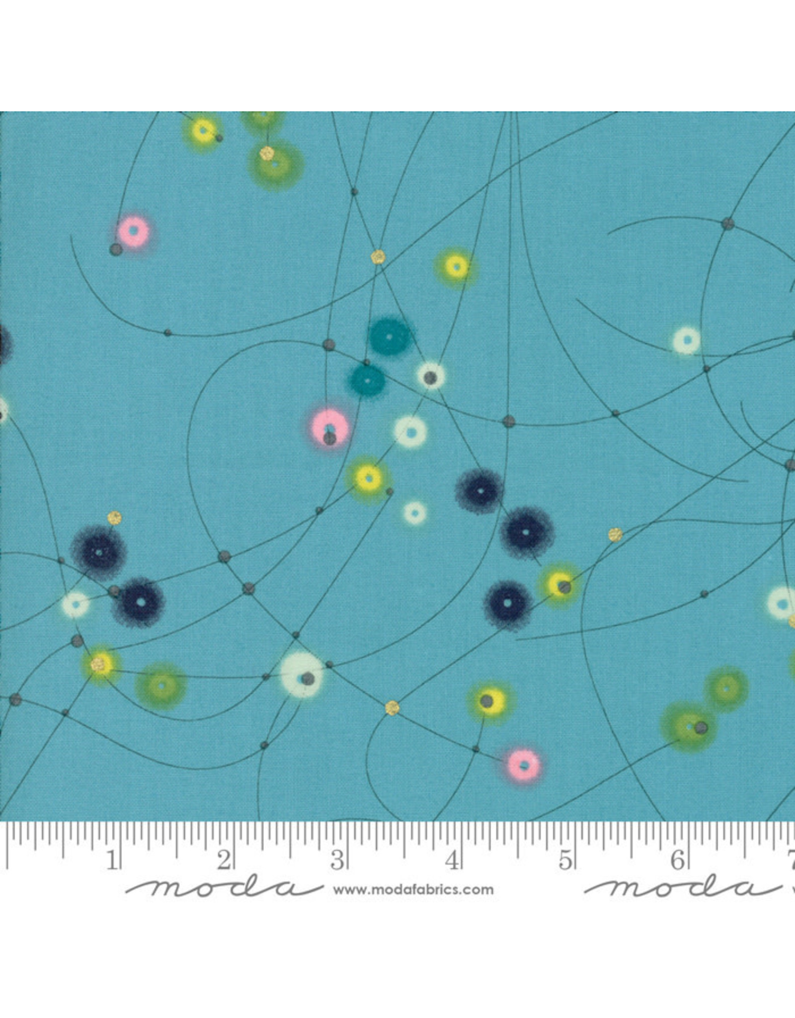 Moda Day in Paris - Watercolor Dots Turquoise coupon (± 28 x 110 cm)