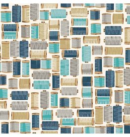 Makower UK Stitch In Time - Cotton Reels Blue