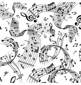 Kanvas Studio Better Basics - Swirling Music White/Black coupon (± 32 x 110 cm)