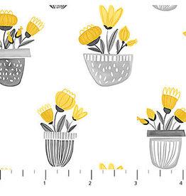 Northcott Sew Sweet - Flower Planters Yellow Gray coupon (± 30 x 110 cm)