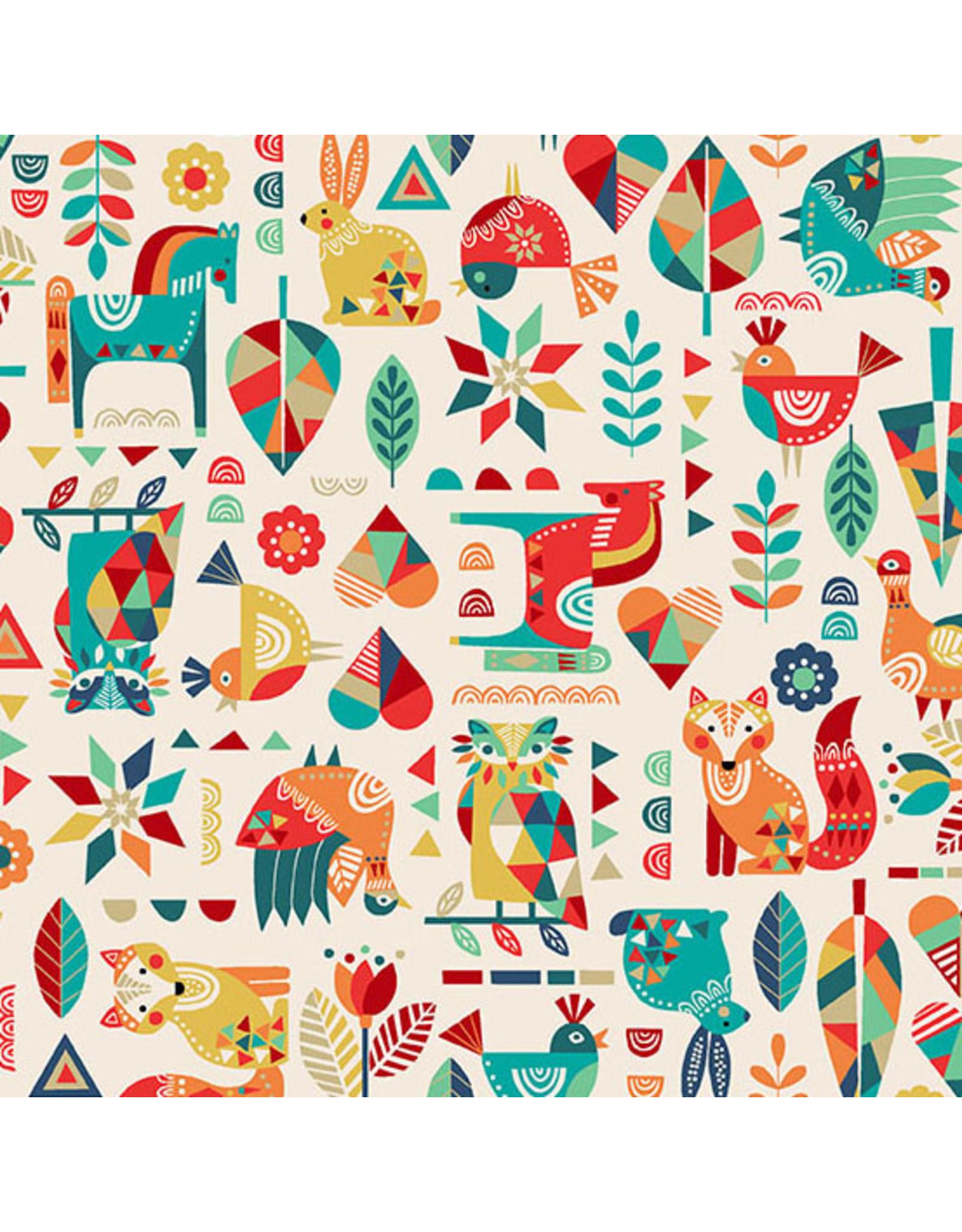 Makower UK Folk Friends - Animals Cream coupon (± 29 x 110 cm)