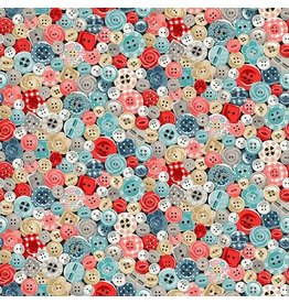 Makower UK Stitch In Time - Buttons coupon (± 22 x 110 cm)