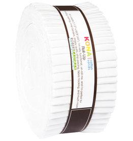 Robert Kaufman 2-1/2in Strips Roll Up - Kona Solids White
