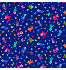 Makower UK Katie's Cats - Scattered Cats Blue
