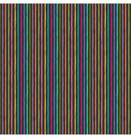 Makower UK Katie's Cats - Chalky Stripe Black
