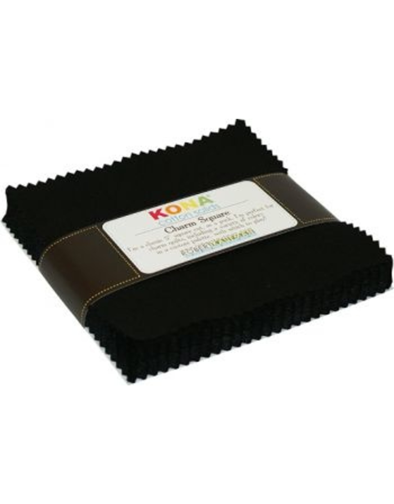 Robert Kaufman 5 x 5 inch Charm Squares - Kona Solids Black