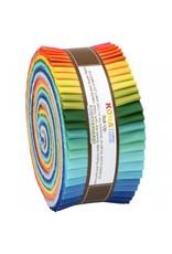Robert Kaufman 2-1/2in Strips Roll Up - Kona Solids Summer Colorway