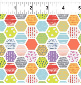 In the Beginning Doodle Blossoms - Hexagons Multi coupon (± 36 x 110 cm)