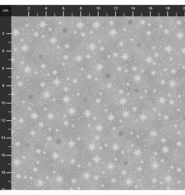 Stof Fabrics Christmas is Near - Stars Grey