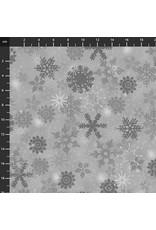 Stof Fabrics Christmas is Near - Snowflakes Grey
