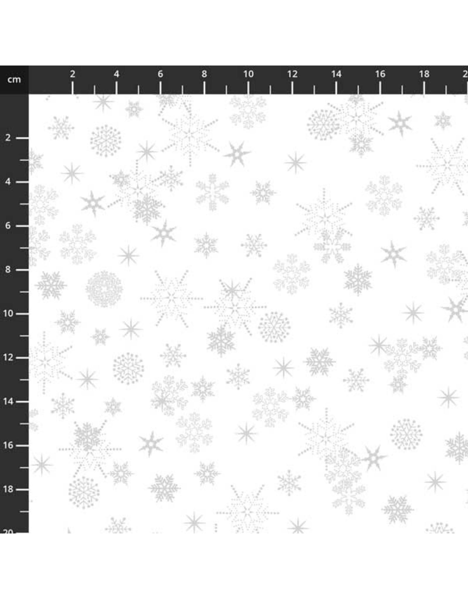 Stof Fabrics Christmas is Near - Snowflakes White