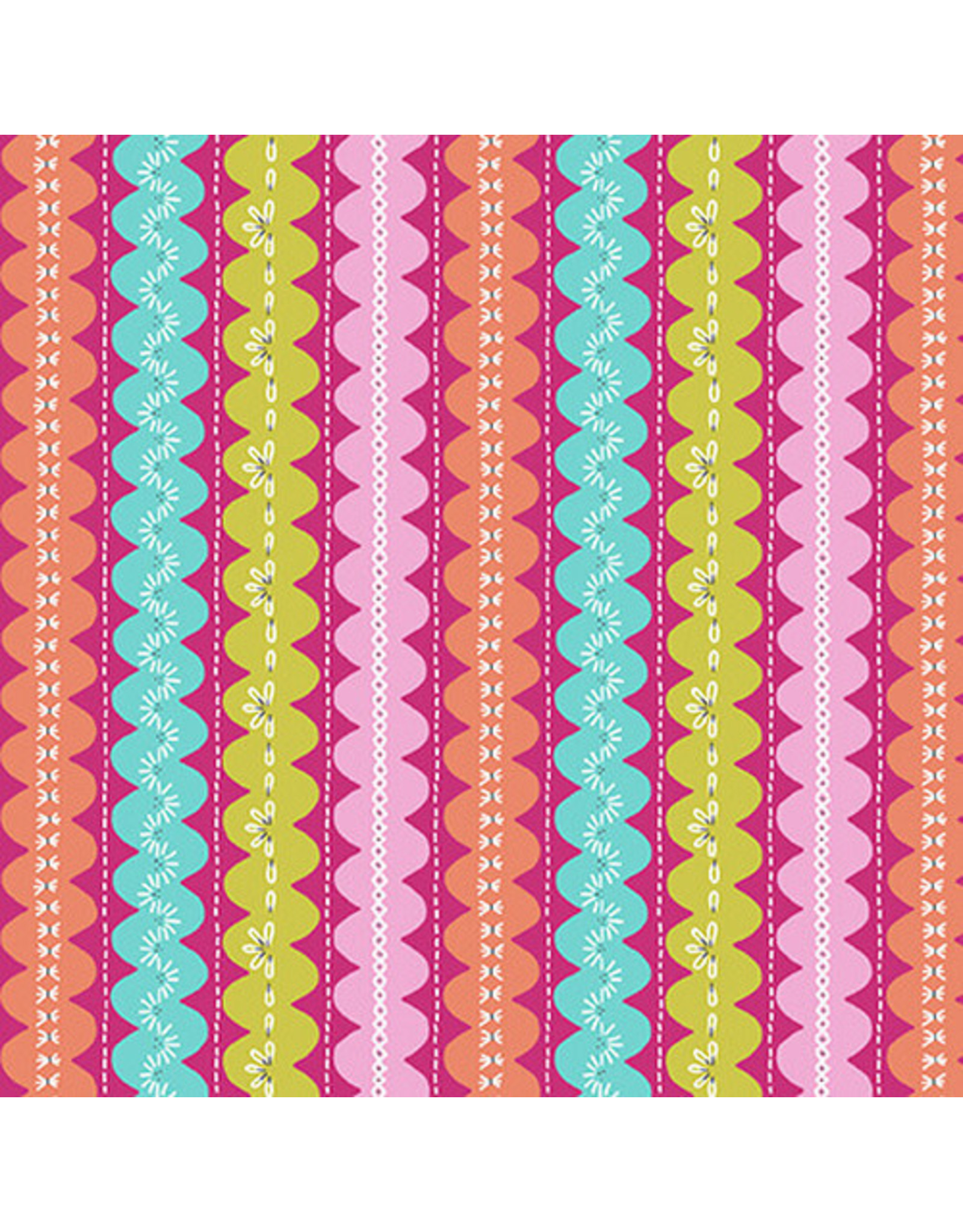 Blank Quilting Handmade with Love - Ric-Rac Stripe Coral