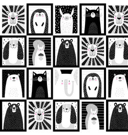 Studio E Fabrics B & W with a Touch of Bright - Animal Patchwork B&W