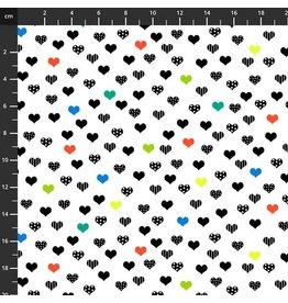 Studio E Fabrics B & W with a Touch of Bright - Small Hearts White Multi