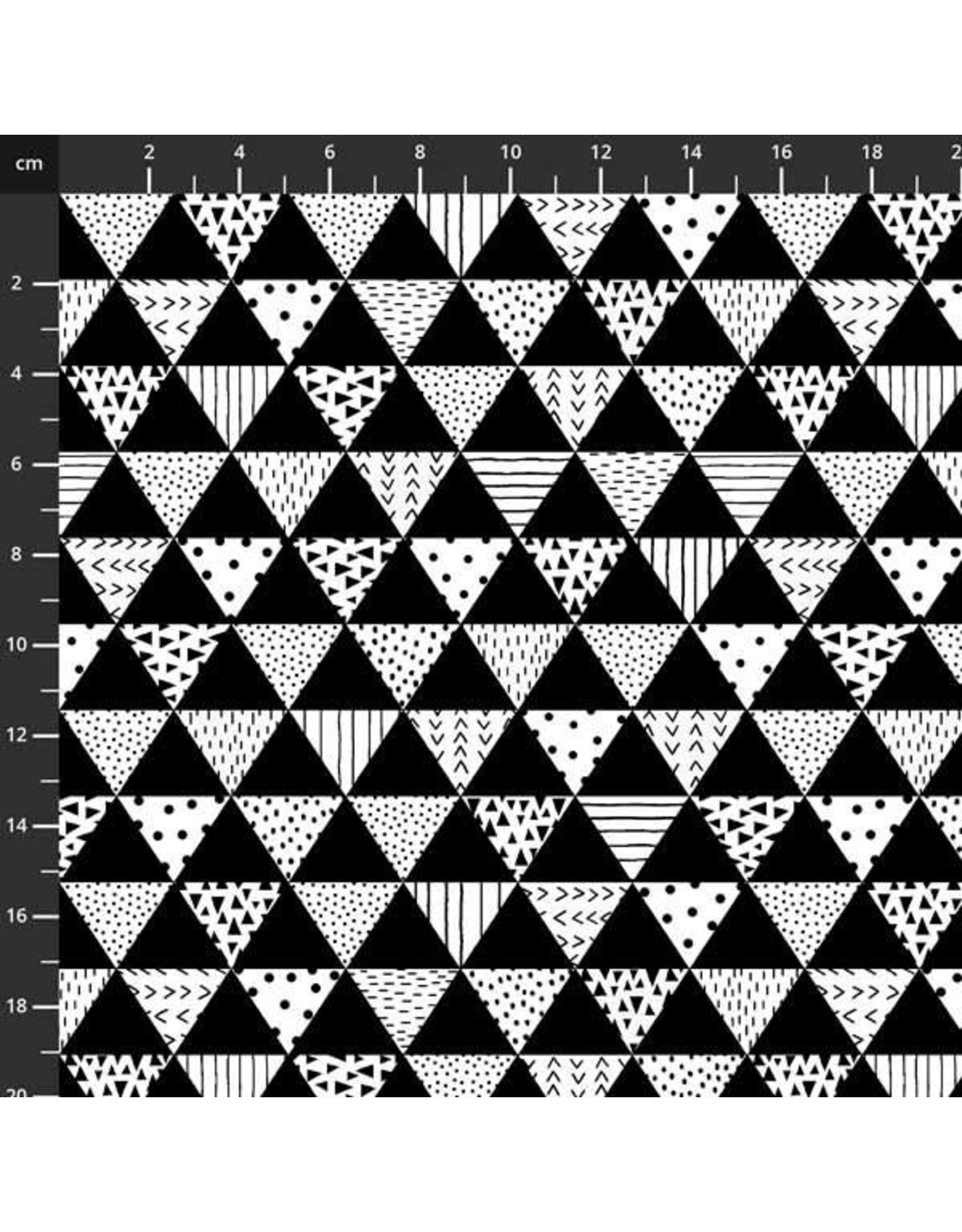 Studio E Fabrics B & W with a Touch of Bright - Patterned Triangles B&W