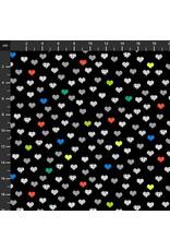Studio E Fabrics B & W with a Touch of Bright - Small Hearts Black Multi