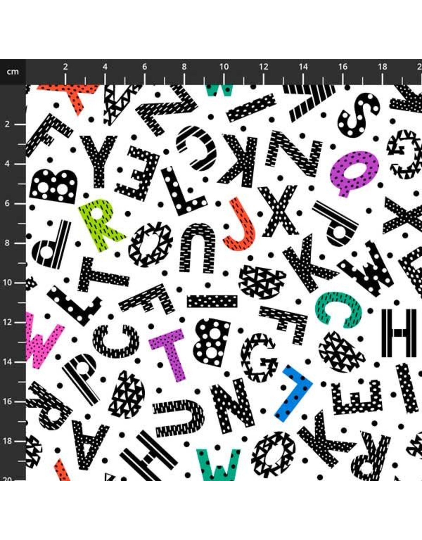 Studio E Fabrics B & W with a Touch of Bright - Tossed Alphabet White Multi